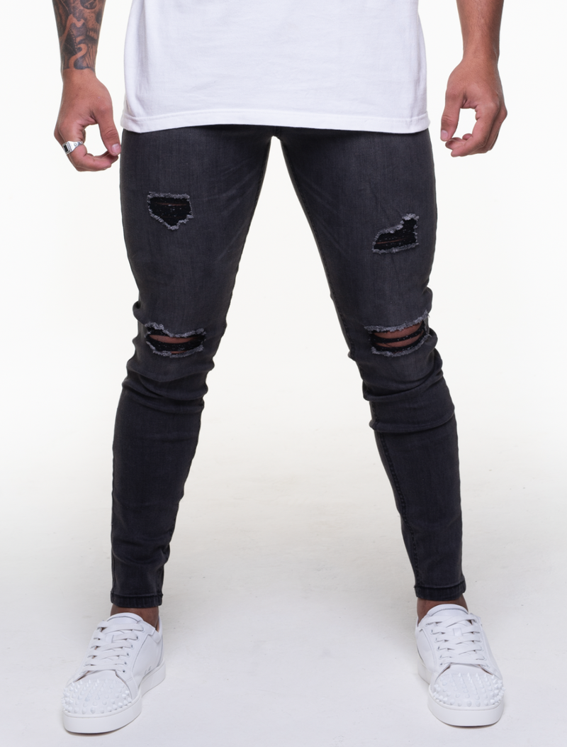GUNMETAL GREY DISTRESSED JEANS