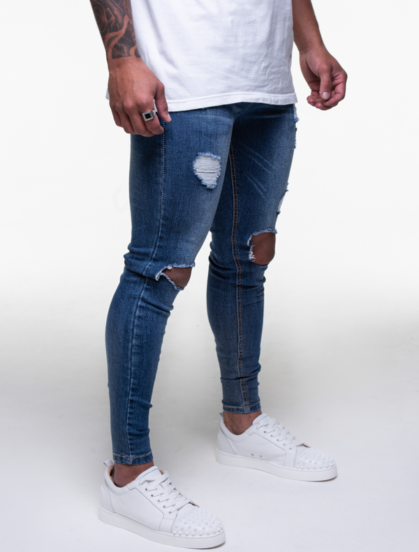 ROYAL BLUE ULTRA RIPPED JEANS