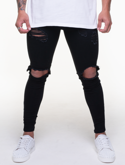 BENTLEY BLACK ULTRA RIPPED JEANS