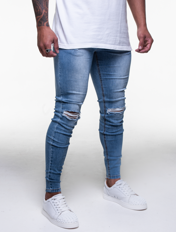 SKY BLUE KNEE RIPPED JEANS