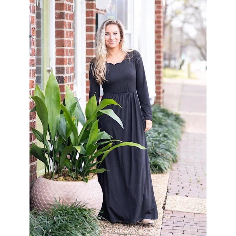 Scalloped Maxi Dress, Black
