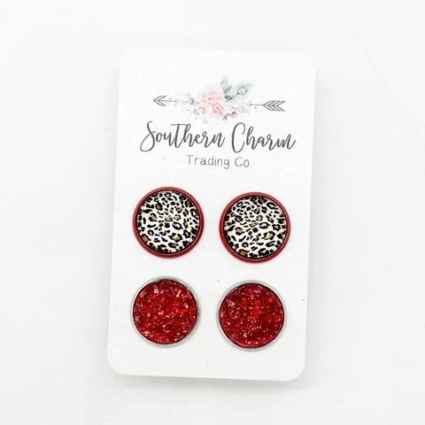 Red Leopard Druzy Set