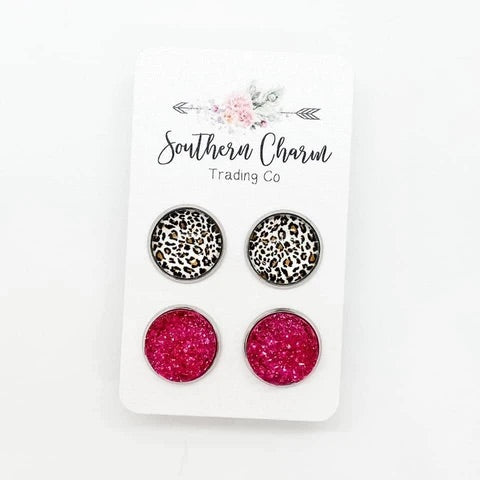 Hot Pink Leopard Druzy Set