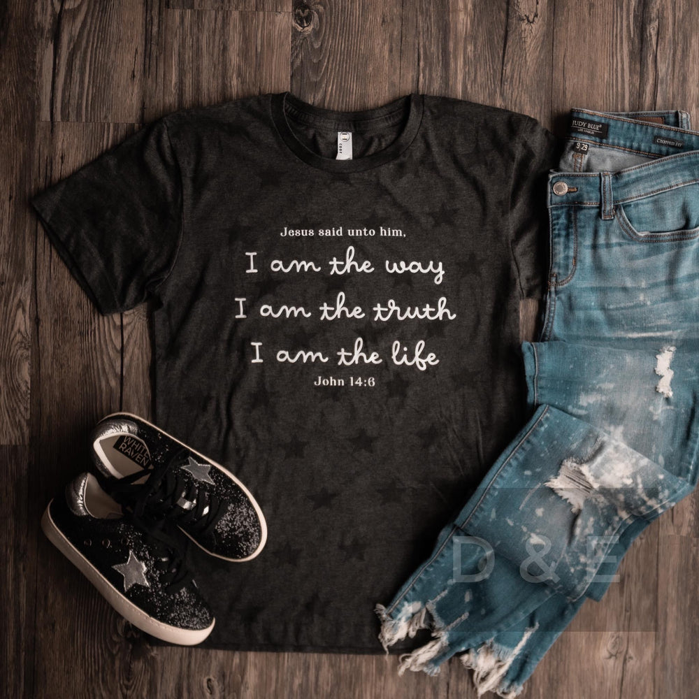 I Am The Way Tee, Black Stars