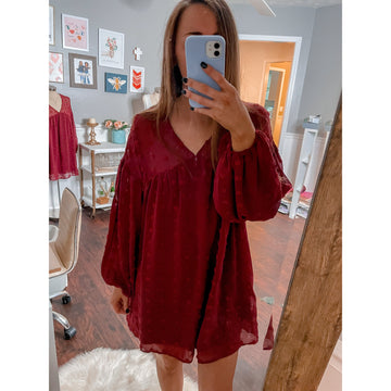 All Your Dreams Dress, Burgundy