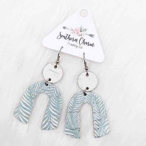 Sage Palm Leaf Earrings