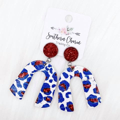 Red, White, and Blue Leopard Earrings