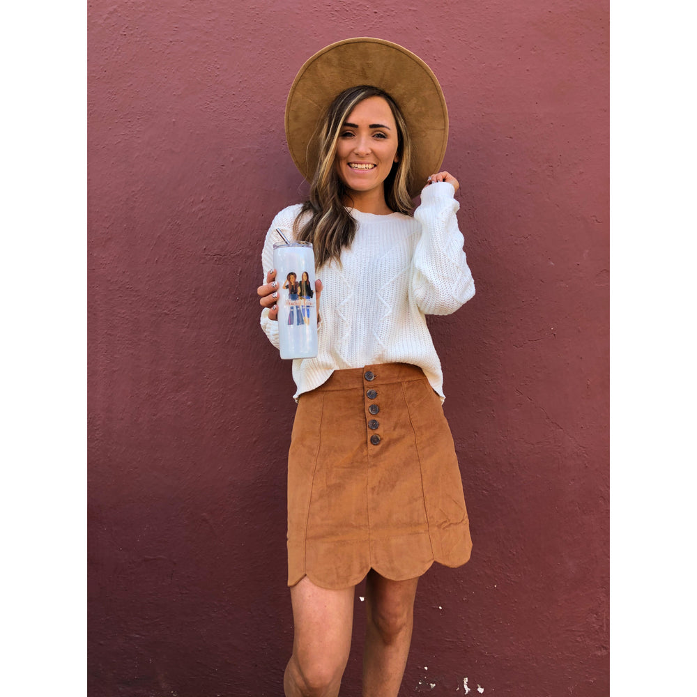 The Reyna Suede Skirt, Camel