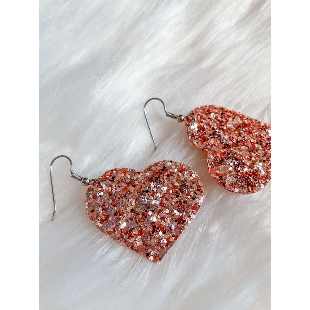 Heart Earrings, Rose Gold