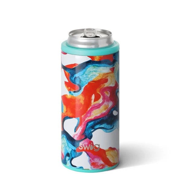 Color Swirl Skinny Can Cooler, Swig