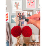 Red Pom Pom Earrings