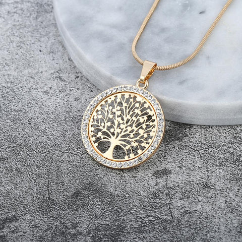 Tree of Life Crystal Pendant Necklace Gold Silver Colors