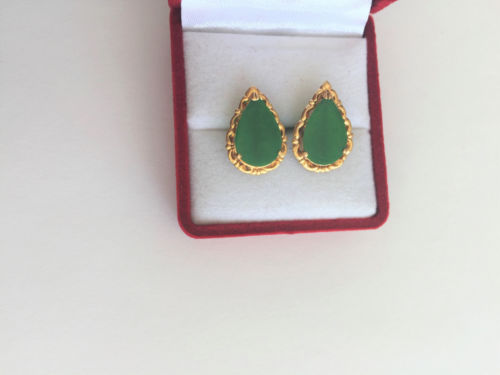 Jewelry set of Jade Earring, Pendant, and Ring - 14K Yellow Gold Green Jade -O11
