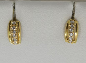 14K Yellow Gold CZ Earrings - E70 - Small earrings