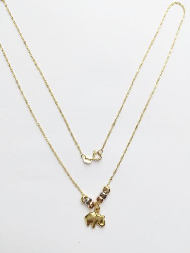 "Nice 14K Gold necklace, small chain with elephant pendant 17"" - C40, 92"