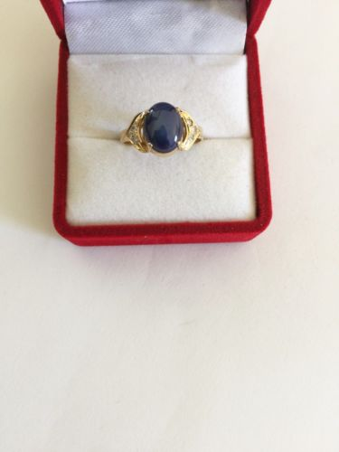 14K Yellow Gold Blue Star woman ring - size 5.5 - R130