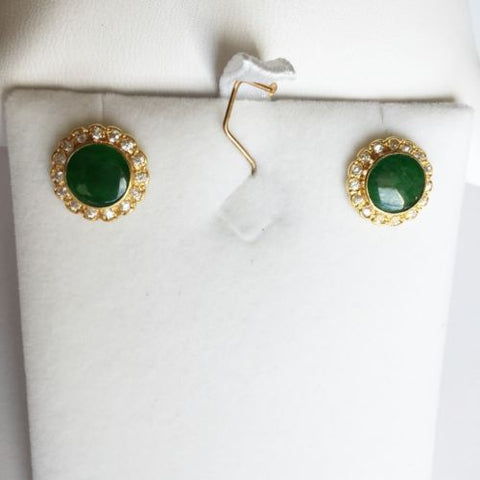 14K Yellow Gold Round Jade Earrings - E32 - Stud Jade & CZ earrings in 14K Gold