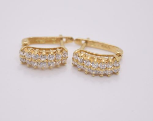 14K Yellow Gold CZs women Earrings - ER68