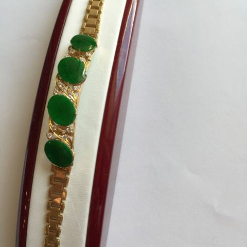 Beautiful Oval Jade Bracelet 14K Solid Yellow Gold - 7 inches - B48