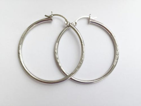 14K White Gold Hollow Hoop Earrings 35mm diameter - E5