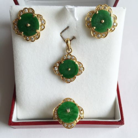 Jewelry set of Jade Earring, Pendant, and Ring - 14K Yellow Gold Green Jade - O3