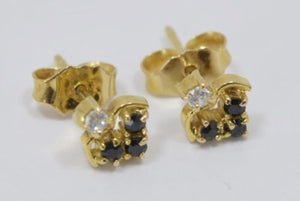 Small 14K Yellow Gold Sapphire Earrings - E56