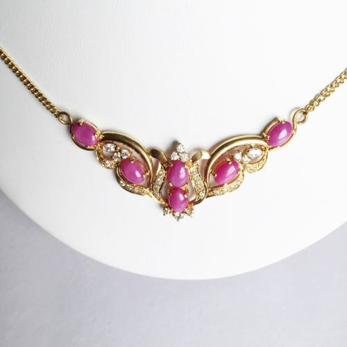 "Beautiful 14K Yellow Gold Oval Pink Star Statement Necklace - 20"" - C98"