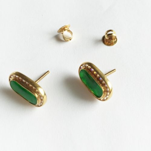 14K Yellow Gold Jade Earrings - E26