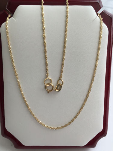 "Small 14K Yellow Gold Chain 18"", 20 inches - Width 1MM - C51,53,52"
