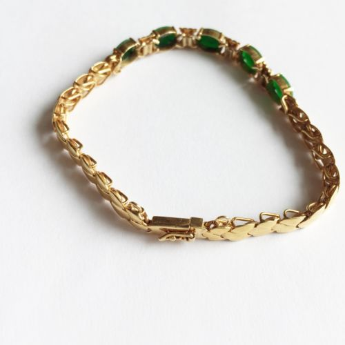 Oval Jade Bracelet 14K Solid Yellow Gold - 7 inches - B43