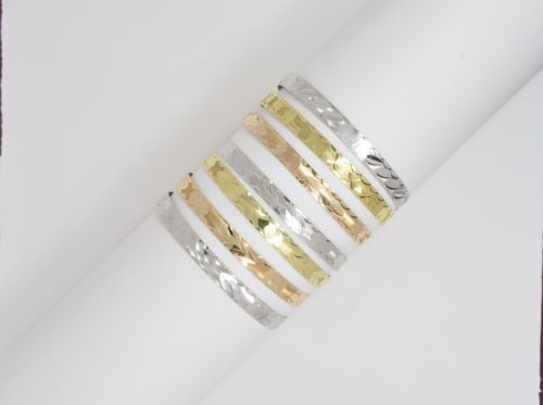 14K Gold Tri-color 7 Day (Semanario) Bangles size 54 MM, Width 5.5 MM-B114