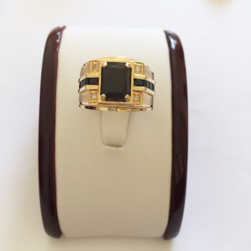 14K Yellow Gold Sapphire Men's Ring size 9.5 - R65