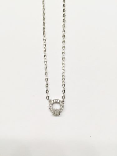 14K White Gold Necklace-Nice Chain attached with cute pendant 17 in - C26