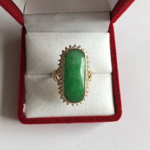14K Yellow Gold Jade Women Ring - size 5.5 - R39