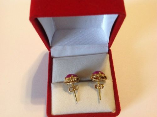 14K Yellow Gold pink star stone Earrings