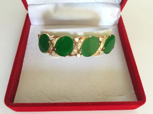 Very beautiful 14K Yellow Gold CZs and Jade Bangle bracelet