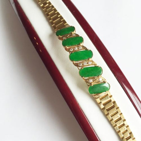 Jade Bracelet 14K Yellow Gold - 6 inches - B42