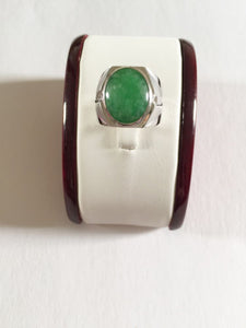 10K White Gold Men's Jade ring size 8.75 - R100