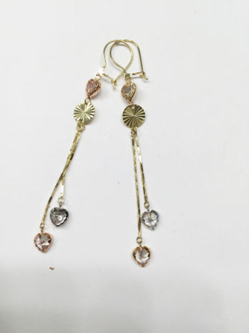 14K Gold Tri-color Dangling heart Earrings - E19