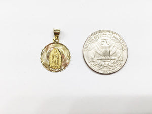 Small 14K Yellow Gold Round Religious Pendant - P77