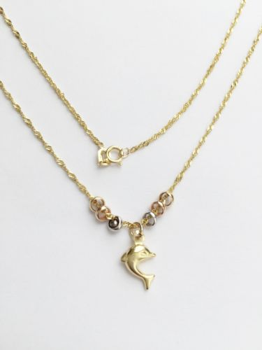 "Nice 14K Gold necklace, small chain attached dolphin pendant 17"" -C8812"