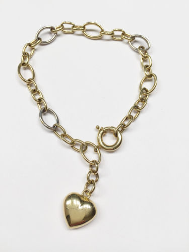 14K Yellow Gold Hollow Heart Bracelet - 7.5 inches - B57