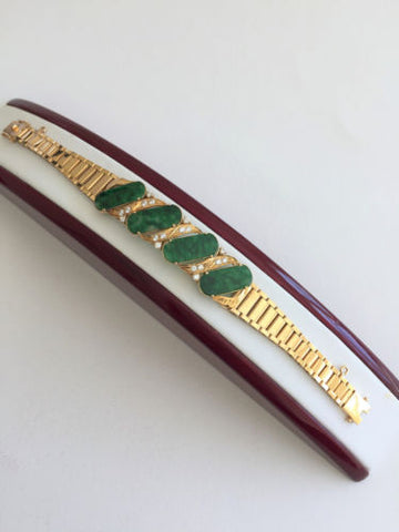14K Yellow Gold Jade Bracelet - 6.5 inches - B153