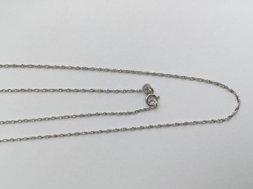 "Small 14K White Gold Chain 18"" & 20 inches - Width 1MM - C49,50"