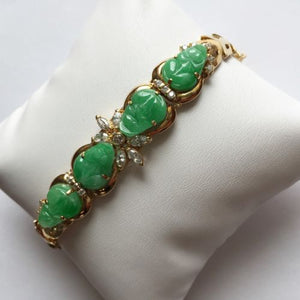 14K Yellow Gold Bracelet, Beautiful Jade Carved Frog Bracelet - B36