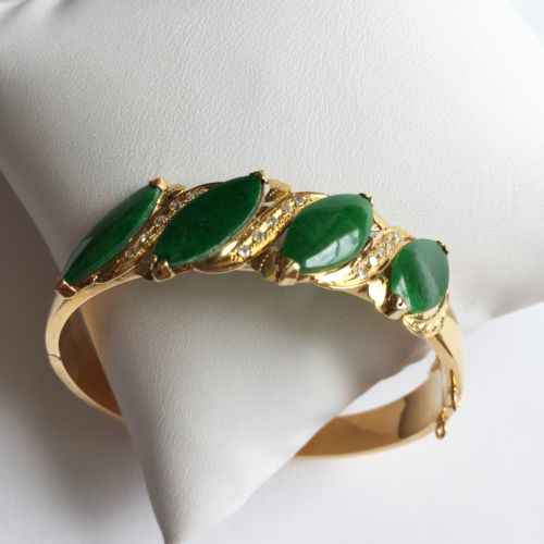14K Yellow Gold Jade Bracelet Bangle- Jade in marquise shape- 53 MM - B37