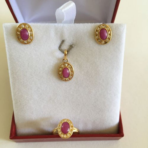 Matching set of Earring, Pendant, and Ring - 14K Yellow Gold Pink Star - O18