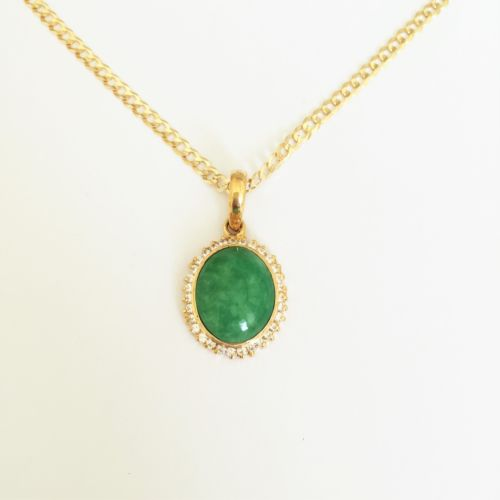 Small Oval Green Jade Pendant - 14K Yellow Gold - P195