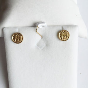 Small 14K Yellow Gold Round Earrings - Chinese letter - E39