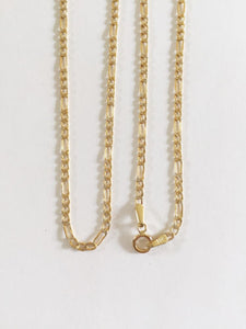 14K Solid Yellow Gold Figaro chain 22 inches - Width 2 MM - C22